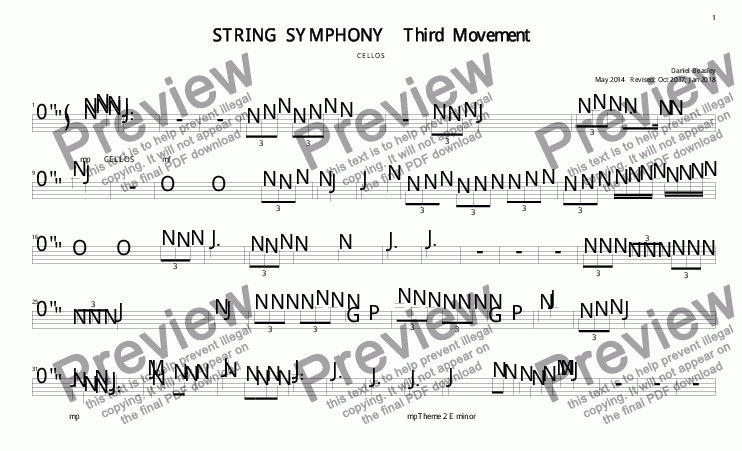 page one of the SS 3rd Mov Cellos part from String Symphony 3rd Movement