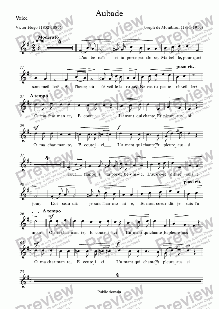 page one of the Voice part from Aubade (Joseph de Montbron / Victor Hugo)