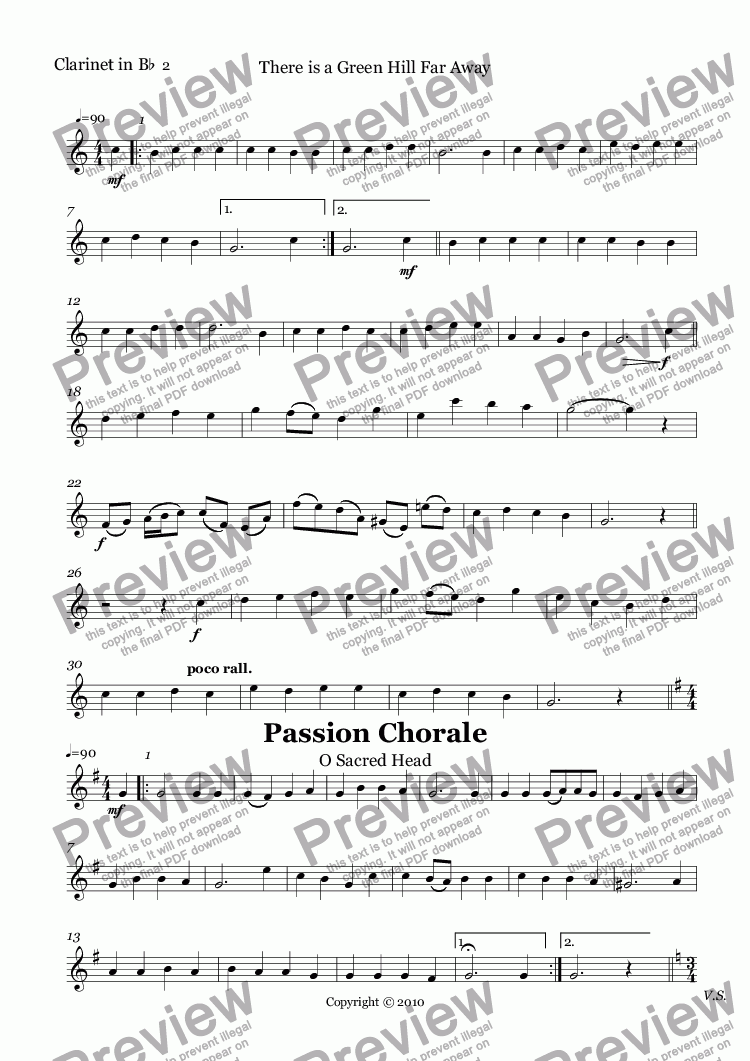 page one of the Clarinet in B^b part from 10 Easter Hymns for Clarinet Quartet with piano accompaniment