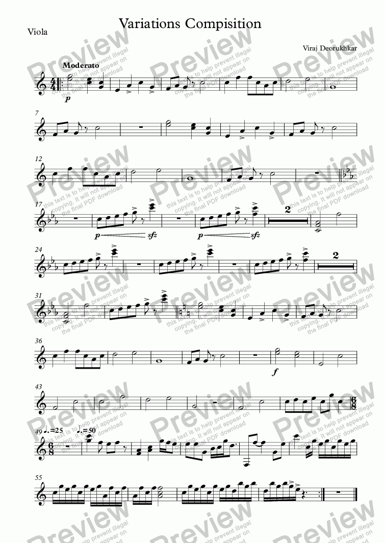page one of the Viola part from Variations Compisition