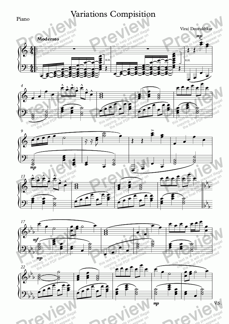 page one of the Piano part from Variations Compisition