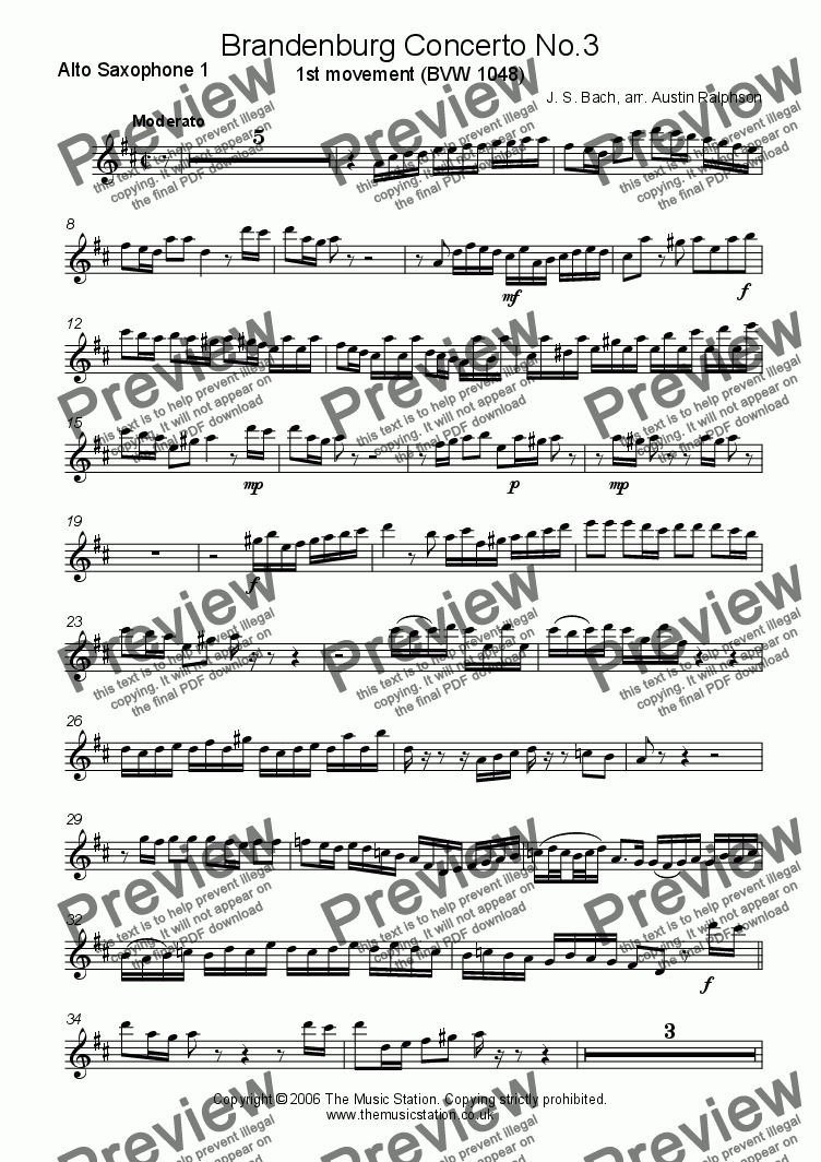 page one of the Alto 1 part from Brandenburg Concerto No.3, 1st movement - sax quintet