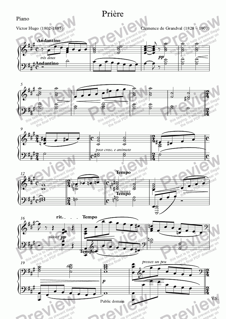page one of the Piano part from Prière (Clémence de Grandval / Sully Prudhomme)