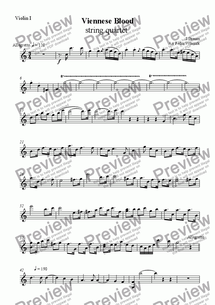 page one of the violin 1 part from Viennese Blood