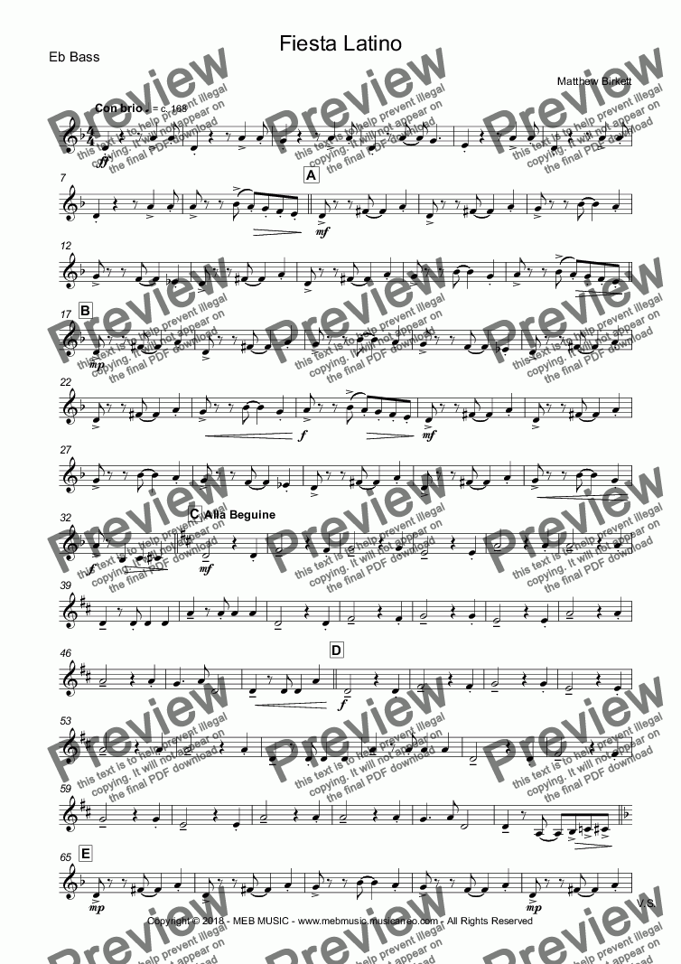 page one of the Eb Bass part from Fiesta Latino