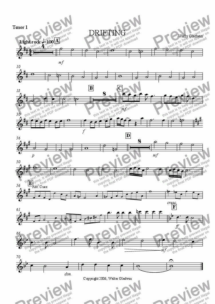 page one of the Tenor Sax 1 part from DRIFTING (Big Band)