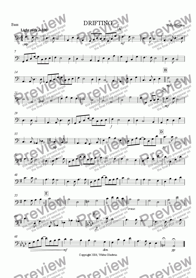 page one of the Bass part from DRIFTING (Big Band)
