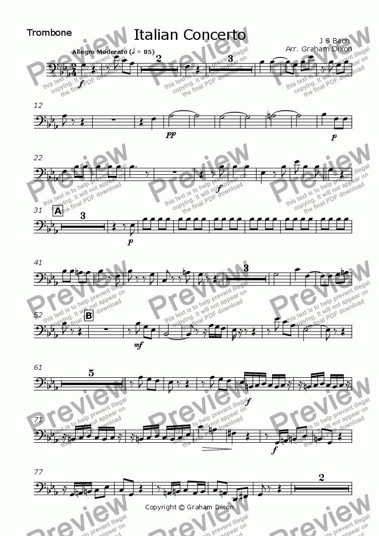 page one of the Trombone part from Italian Concerto for Brass Quintet