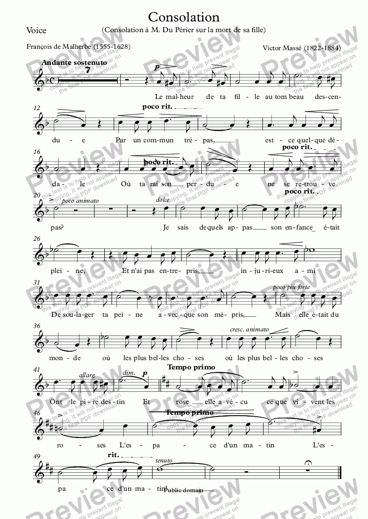 page one of the Voice part from Consolation (Victor Massé / Malherbe)
