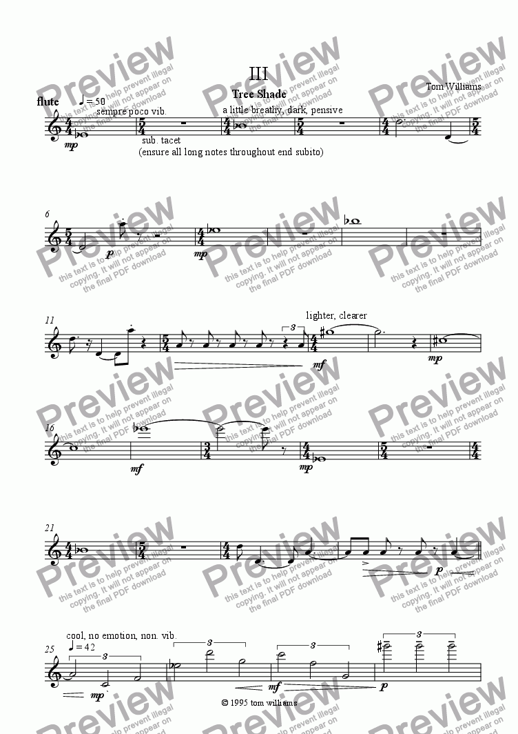 page one of the flute part from Tree Shade