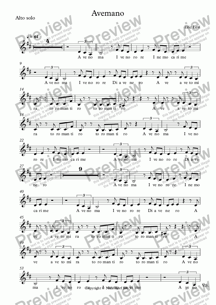 page one of the Alto solo part from Avemano