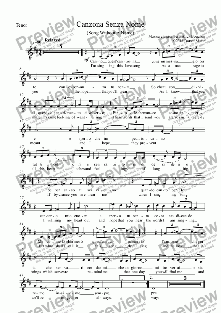 page one of the Tenor (Vocal) part from Canzona Senza Nome (Song Without A Name)