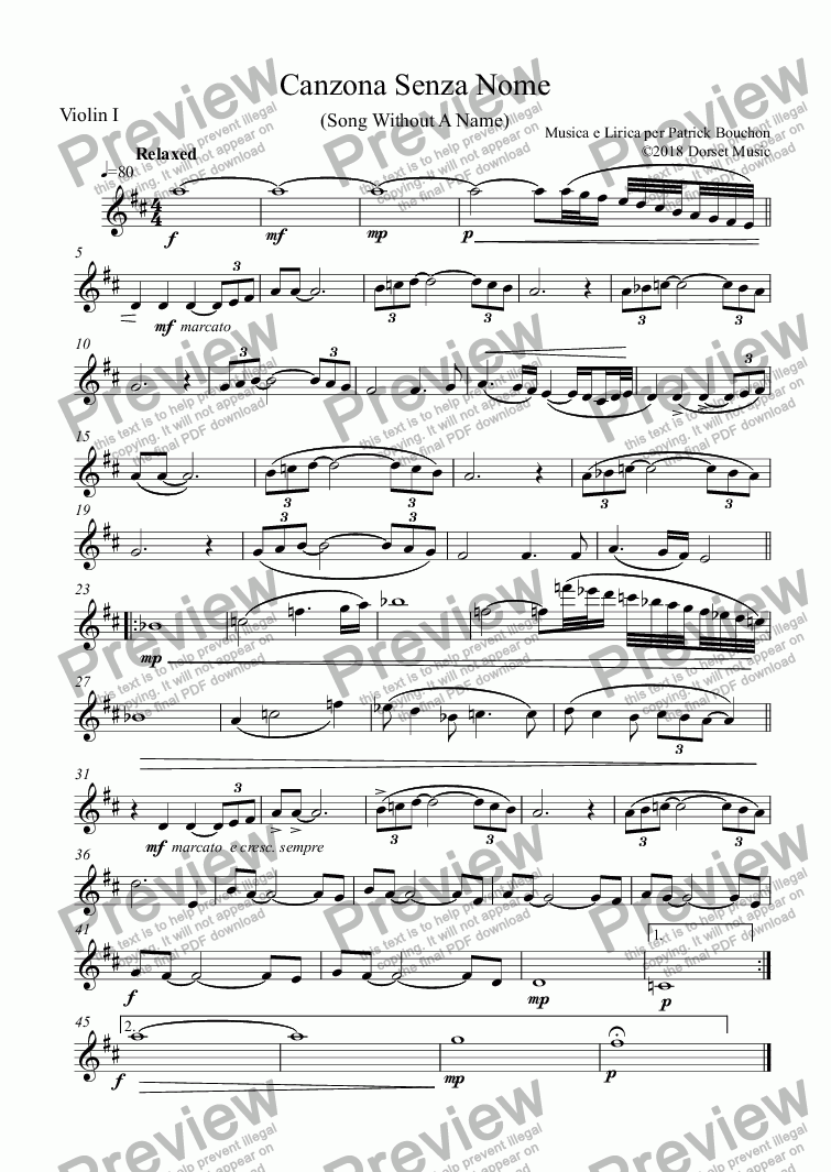 page one of the Violin I part from Canzona Senza Nome (Song Without A Name)