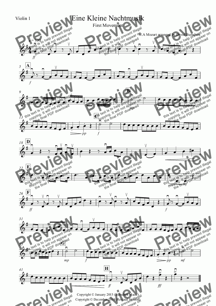 page one of the Violin 1 part from Eine Kleine Nachtmusik (1st Movement) for Violin Quartet