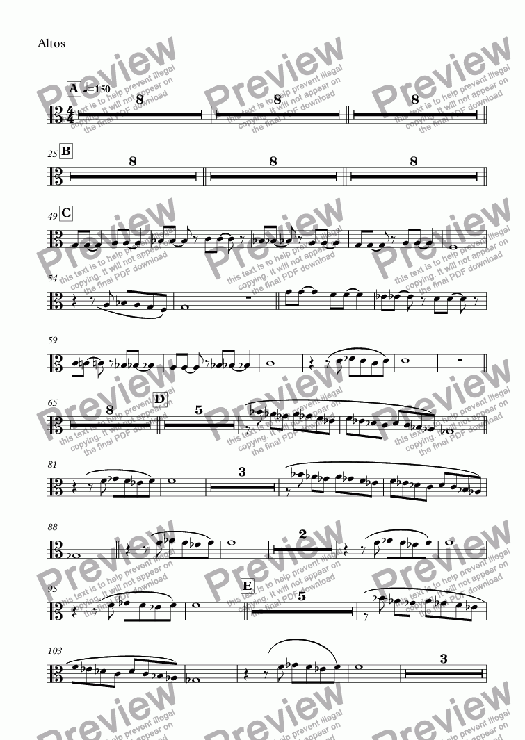 page one of the Altos part from NIELS Percussion