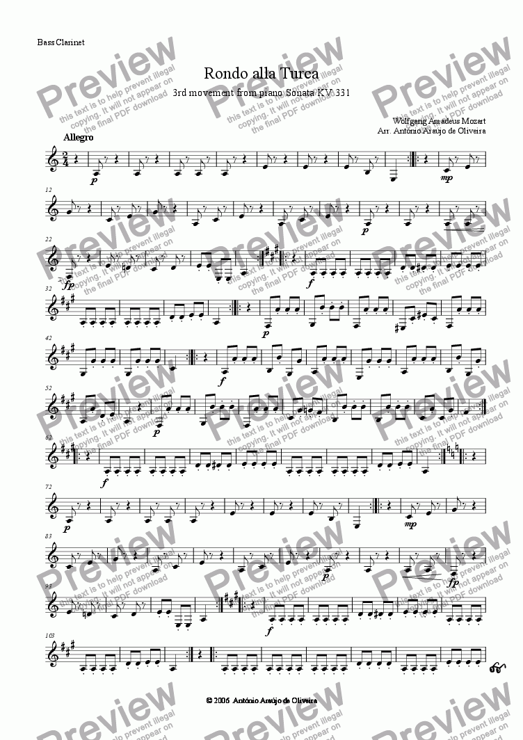 page one of the Bass Clarinet in Bb part from Rondo alla Turca