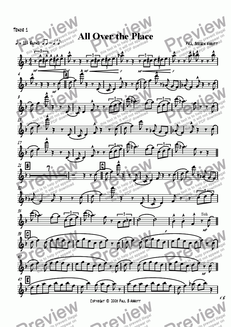 page one of the Tenor sax 1 part from All Over the Place (big band)