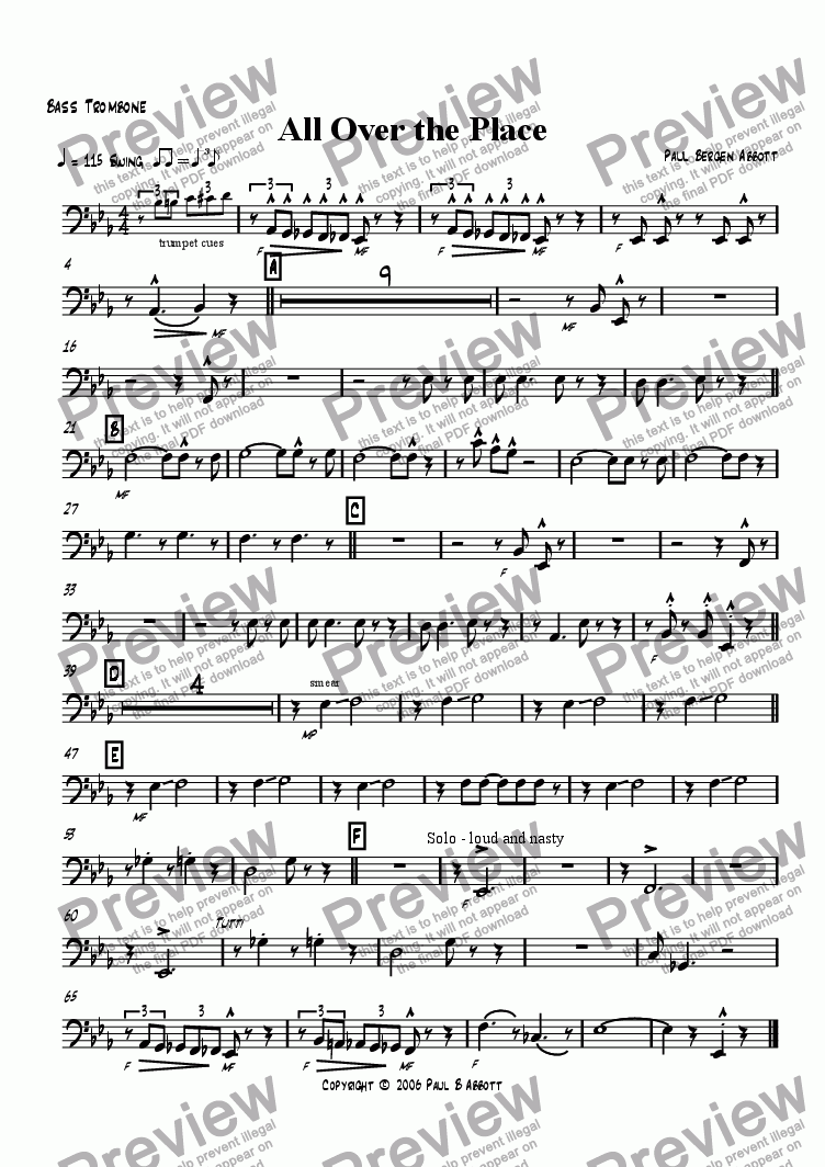 page one of the Trombone 4 (Bass) part from All Over the Place (big band)