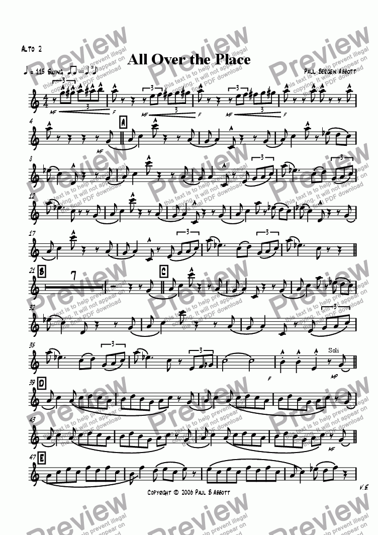 page one of the Alto sax 2 part from All Over the Place (big band)