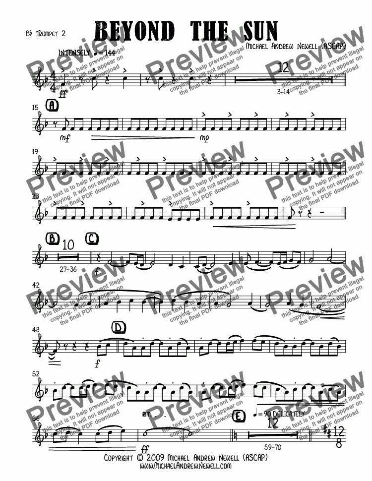 page one of the B^b Trumpet 2 part from Beyond the Sun (Concert Band)