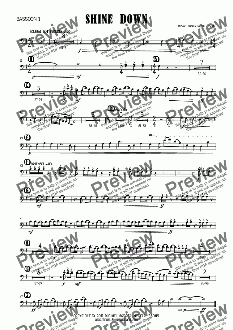 page one of the Bassoon 1 part from Shine Down (Concert Band)