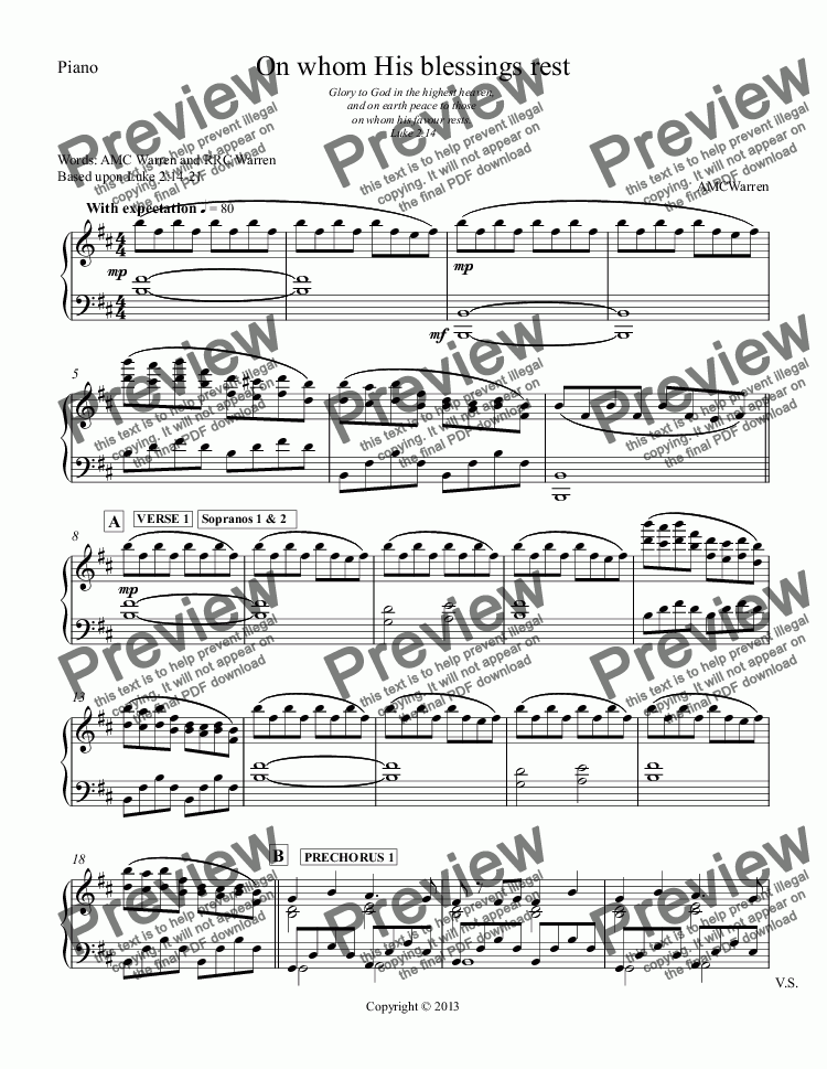 page one of the Piano part from On whom His blessings rest (SSATB with orchestra)