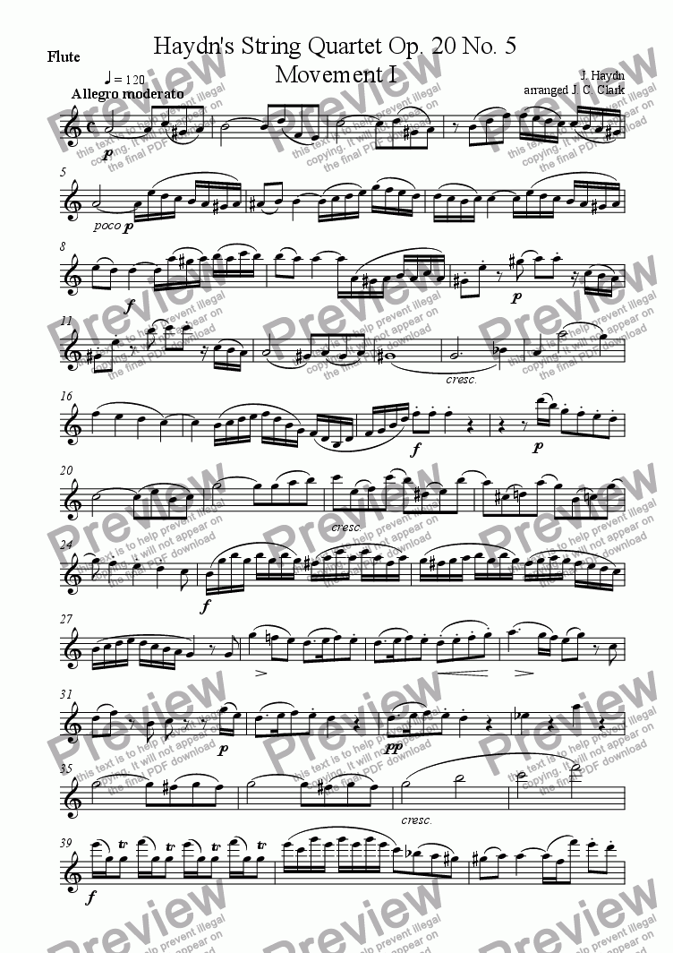 page one of the Flute part from Wind Quartet (arrangement of Haydn's String Quartet Op. 20 No. 5)