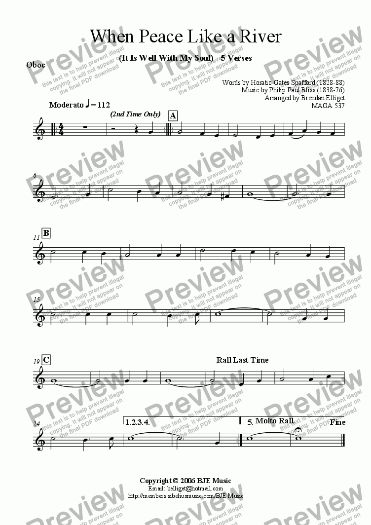 page one of the Oboe Melody part from When Peace Like A River (It Is Well With My Soul) - Mixed Ensemble