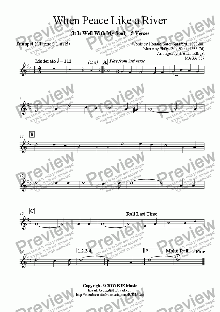 page one of the Clarinet 1 (Trumpet) part from When Peace Like A River (It Is Well With My Soul) - Mixed Ensemble
