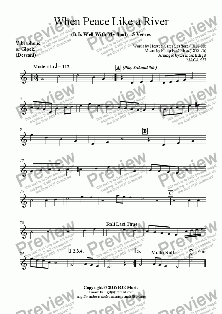 page one of the Vibraphone (Glock.) Descant part from When Peace Like A River (It Is Well With My Soul) - Mixed Ensemble