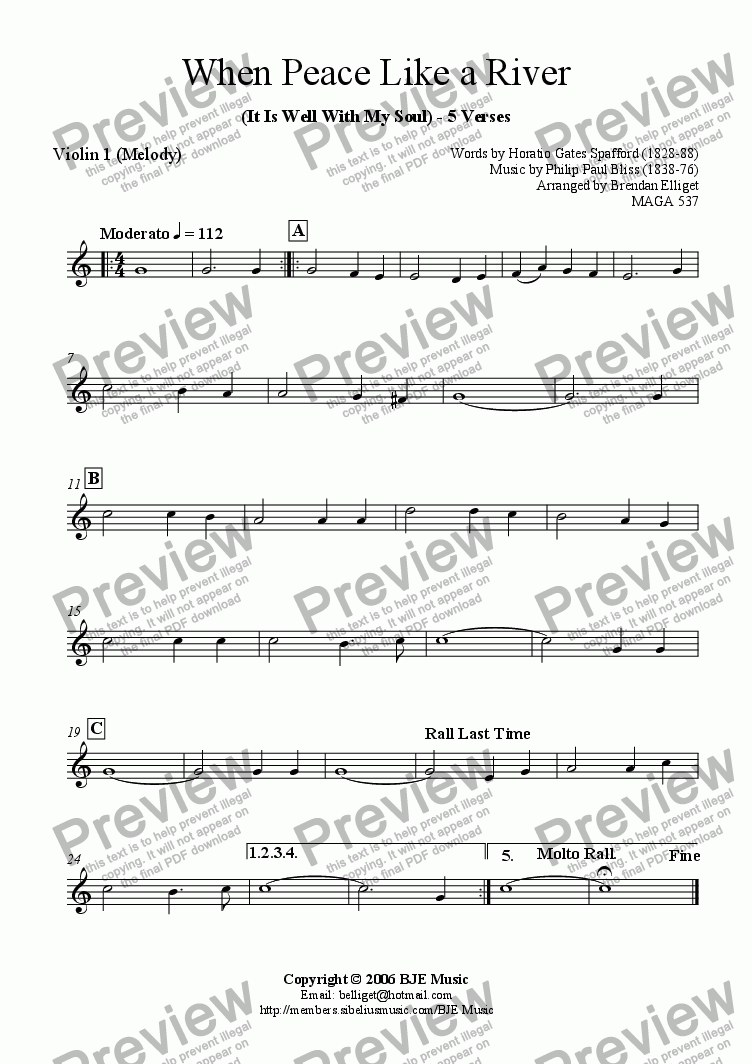 page one of the Violin I part from When Peace Like A River (It Is Well With My Soul) - Mixed Ensemble