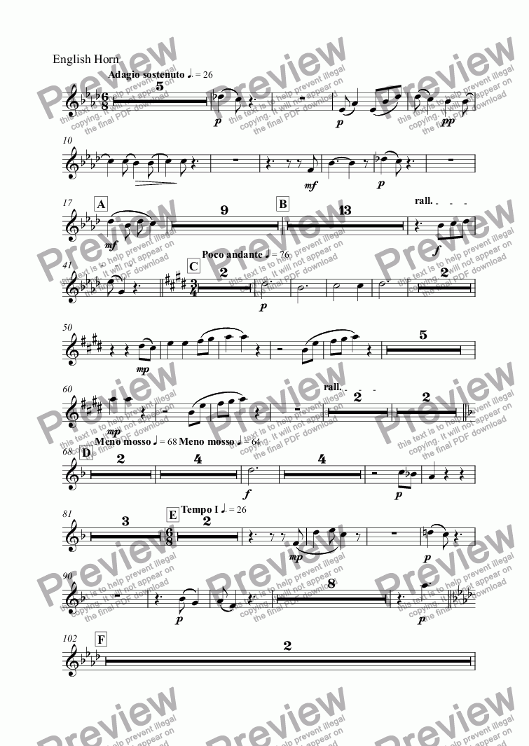 page one of the English Horn part from Symphony No. 2 in D major, Op. 70 - III. Adagio sostenuto