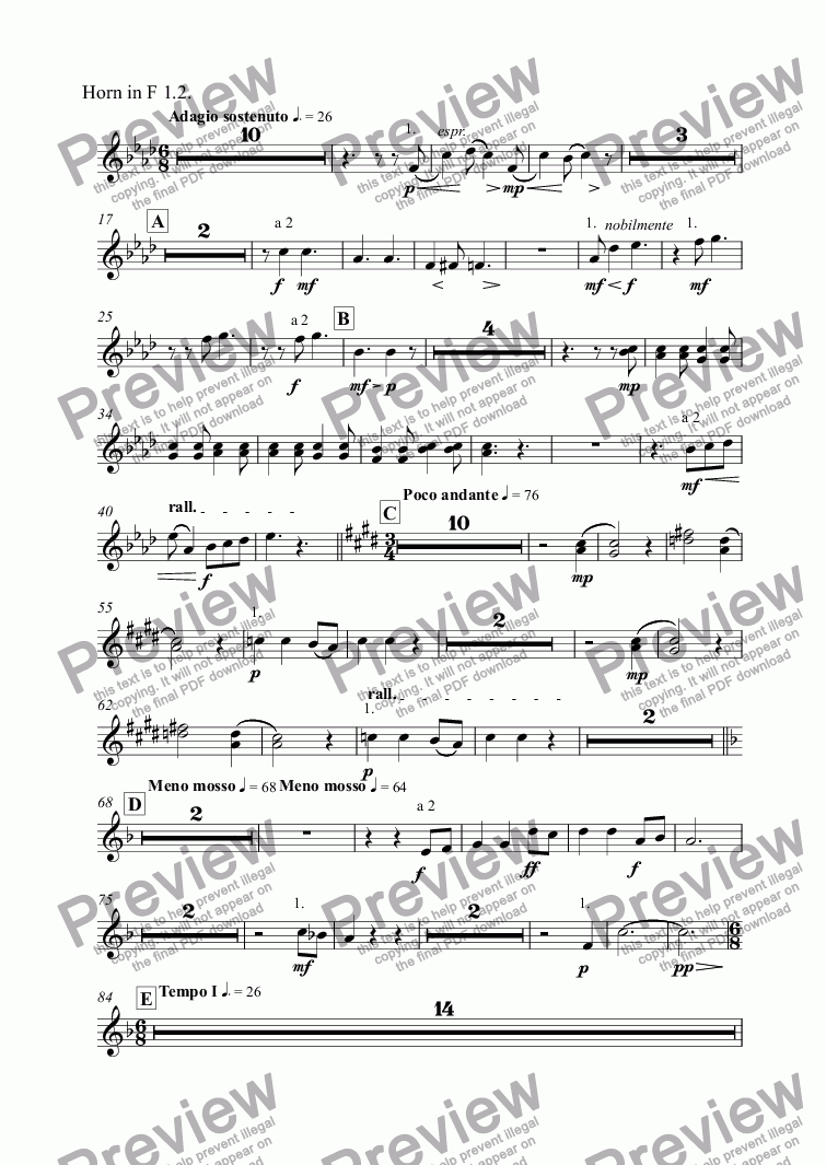 page one of the Horn in F 1.2. part from Symphony No. 2 in D major, Op. 70 - III. Adagio sostenuto