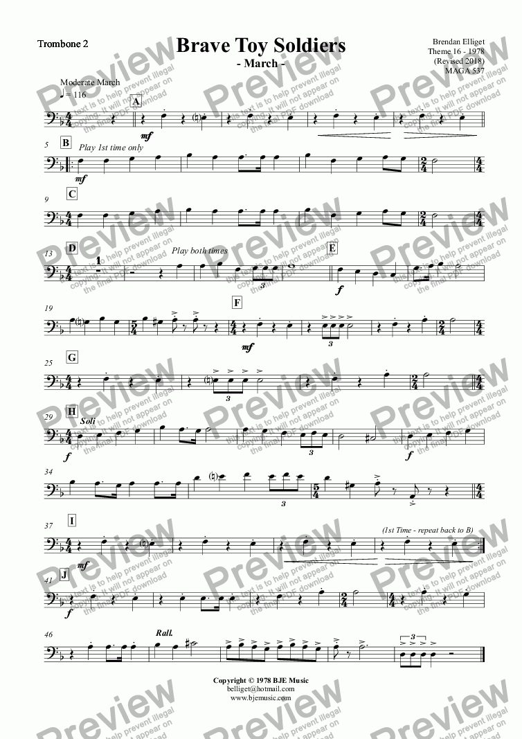 page one of the Trombone 2 part from Brave Toy Soldiers  - March - Concert Band/Orchestra