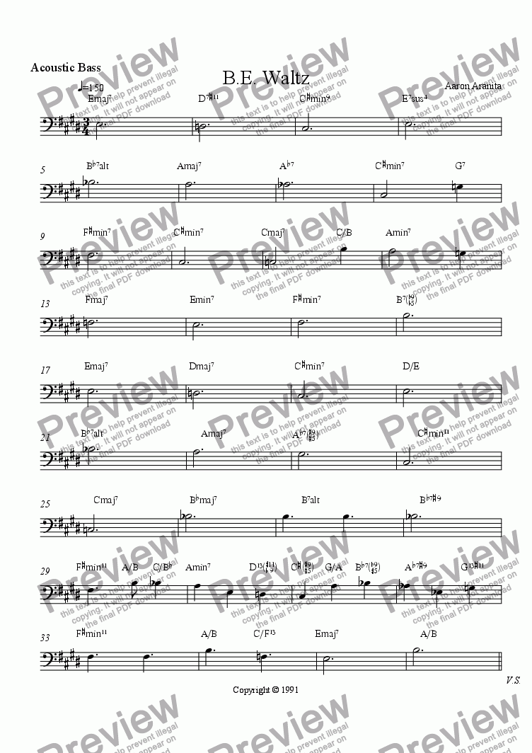 page one of the Bass part from B. E. Waltz