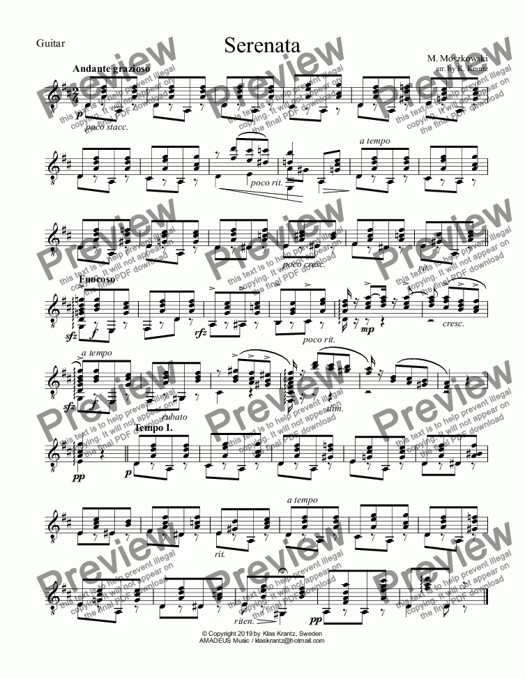 page one of the Guitar part from Serenata Op. 15 No. 1 for violin and guitar