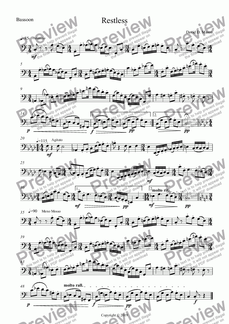 page one of the Bassoon part from Restless
