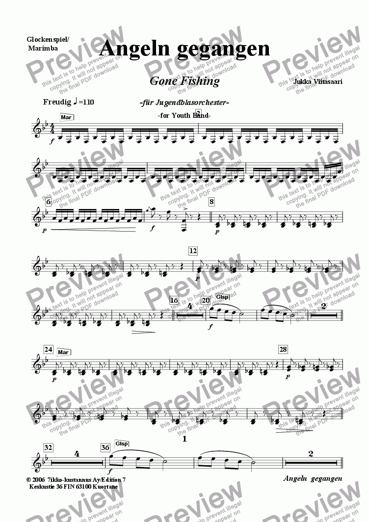 page one of the Glockenspien/Marimba (ein Spieler/one player) part from Angeln gegangen (für Jugendblasorchester)