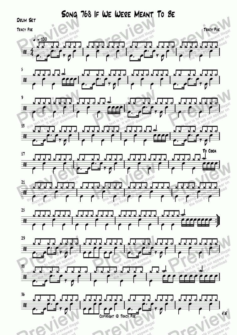 page one of the Drum Set part from Song 768 If We Were Meant To Be