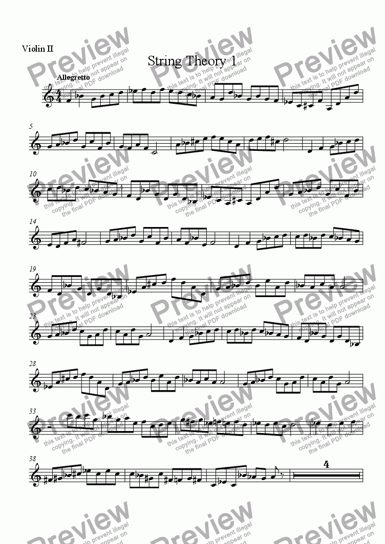page one of the Violin 2 part from String Theory 1