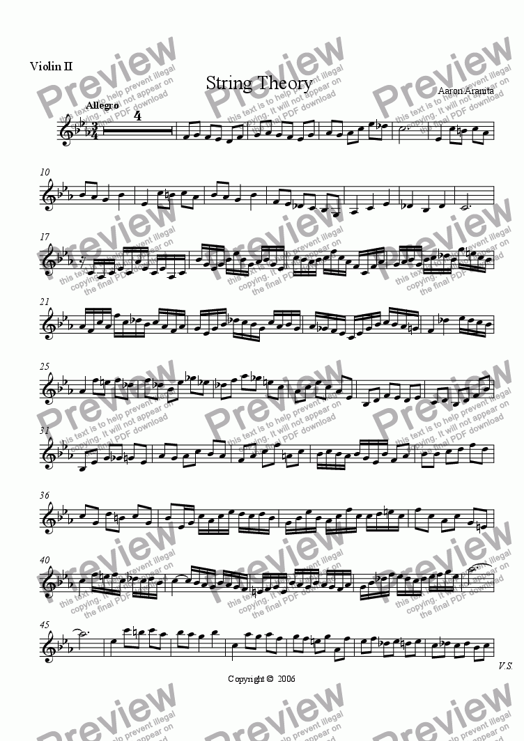 page one of the Violin 2 part from String Theory 2