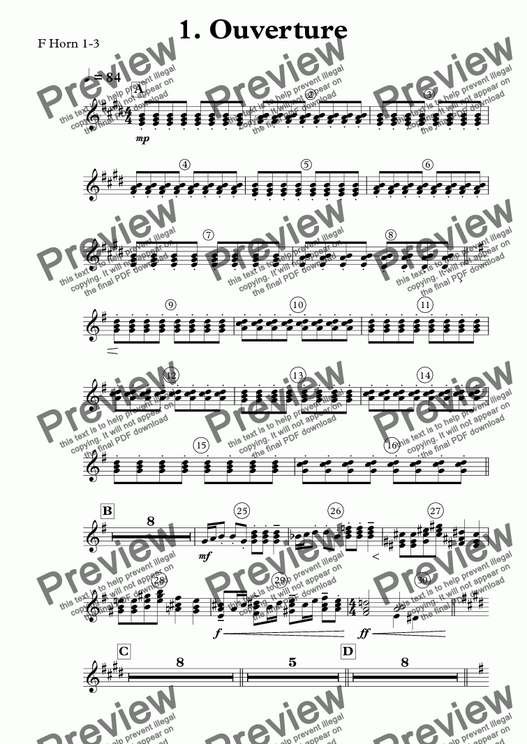 page one of the F Horn 1-3 part from 1. Ouverture