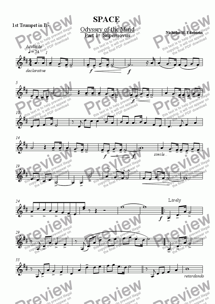 page one of the 1st Trumpet in Bb part from SPACE, Odyssey of the Mind, Part 1: Supernovus