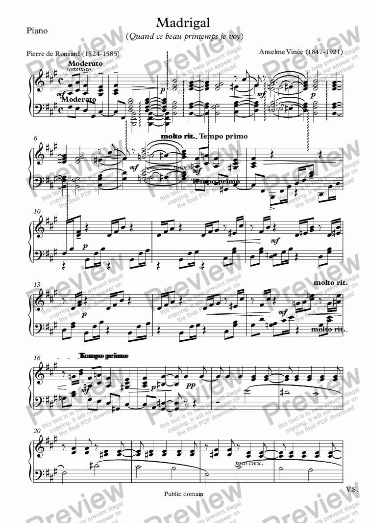 page one of the Piano part from Madrigal  (Anselme Vinée / Ronsard))