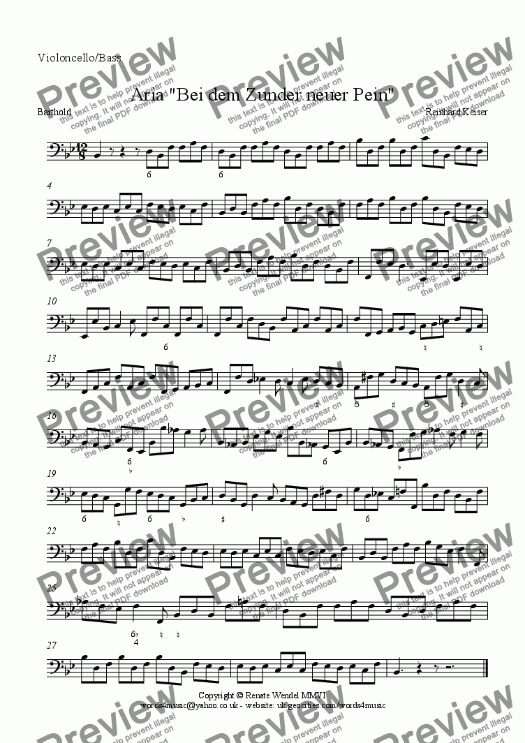 page one of the Cello/Bass part from Bei dem Zunder neuer Pein