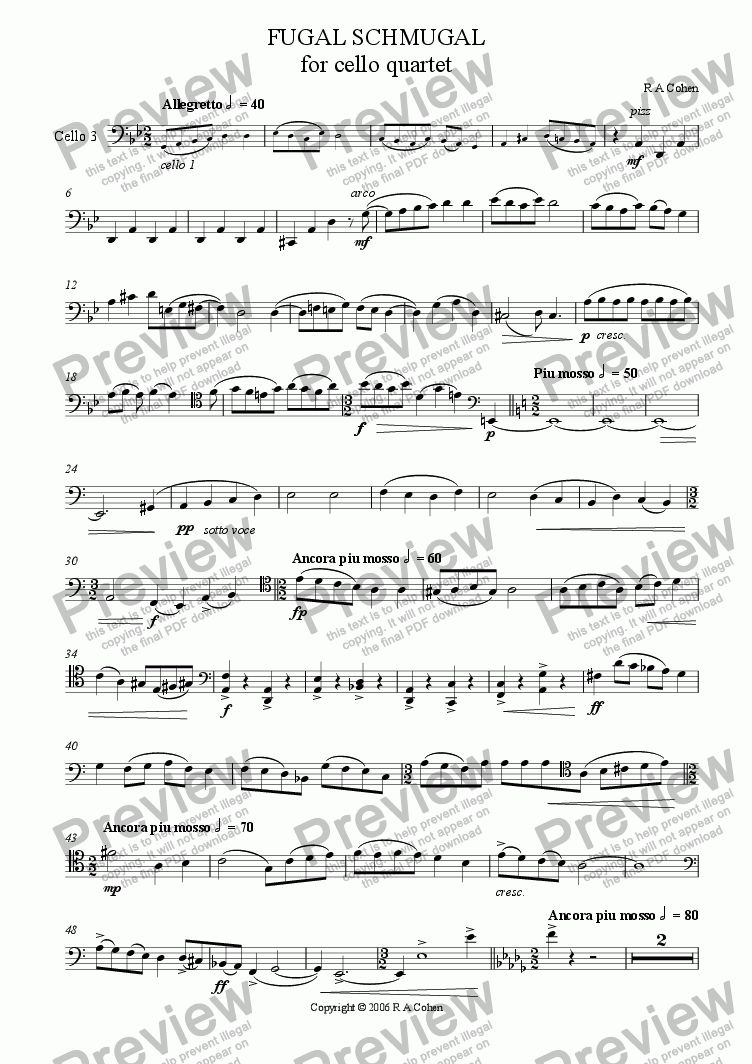 page one of the cello 3 part from FUGAL SCHMUGAL - fugue for cello quartet