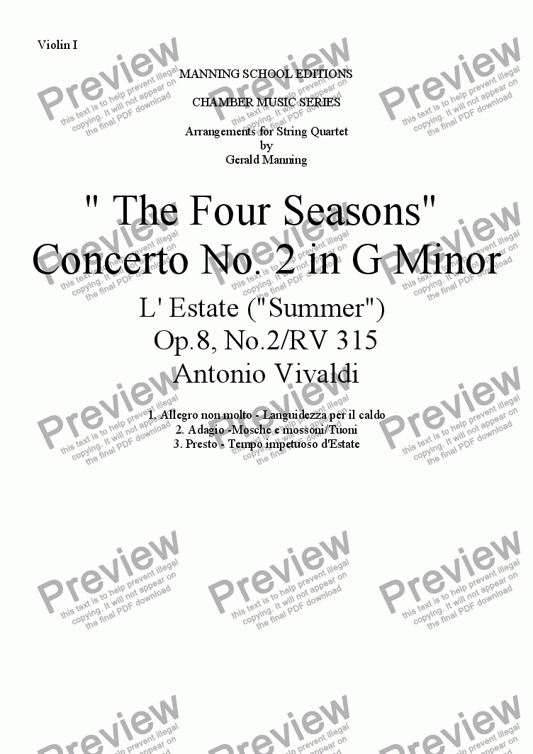"page one of the Violin I part from VIVALDI, A.- ""The Four Seasons"" - Concerto No. 2 in G minor: L'Estate (""Summer"") - arr. for String Quartet by Gerald Manning"