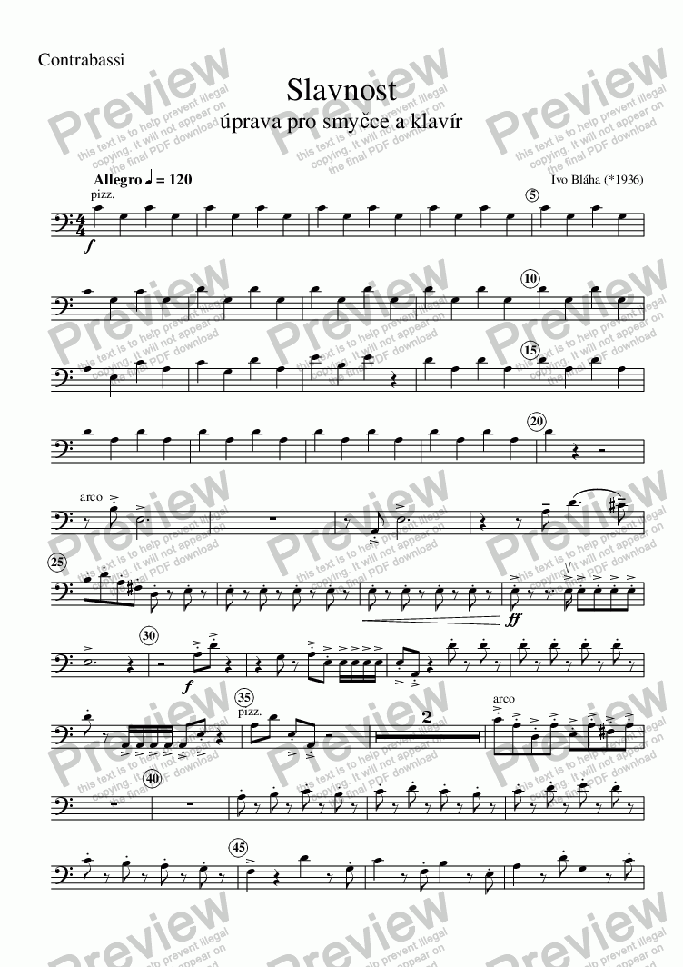 page one of the Contrabassi part from CELEBRATION (Slavnost) - adaptation for strings and piano