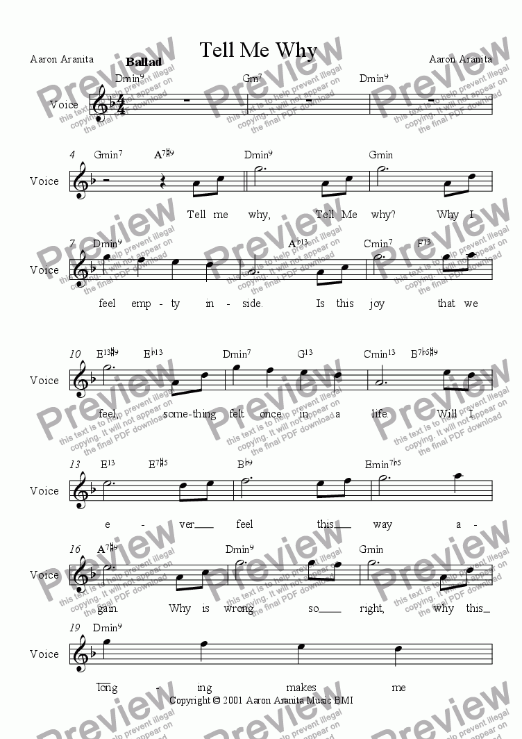page one of the vocal part from Tell Me Why