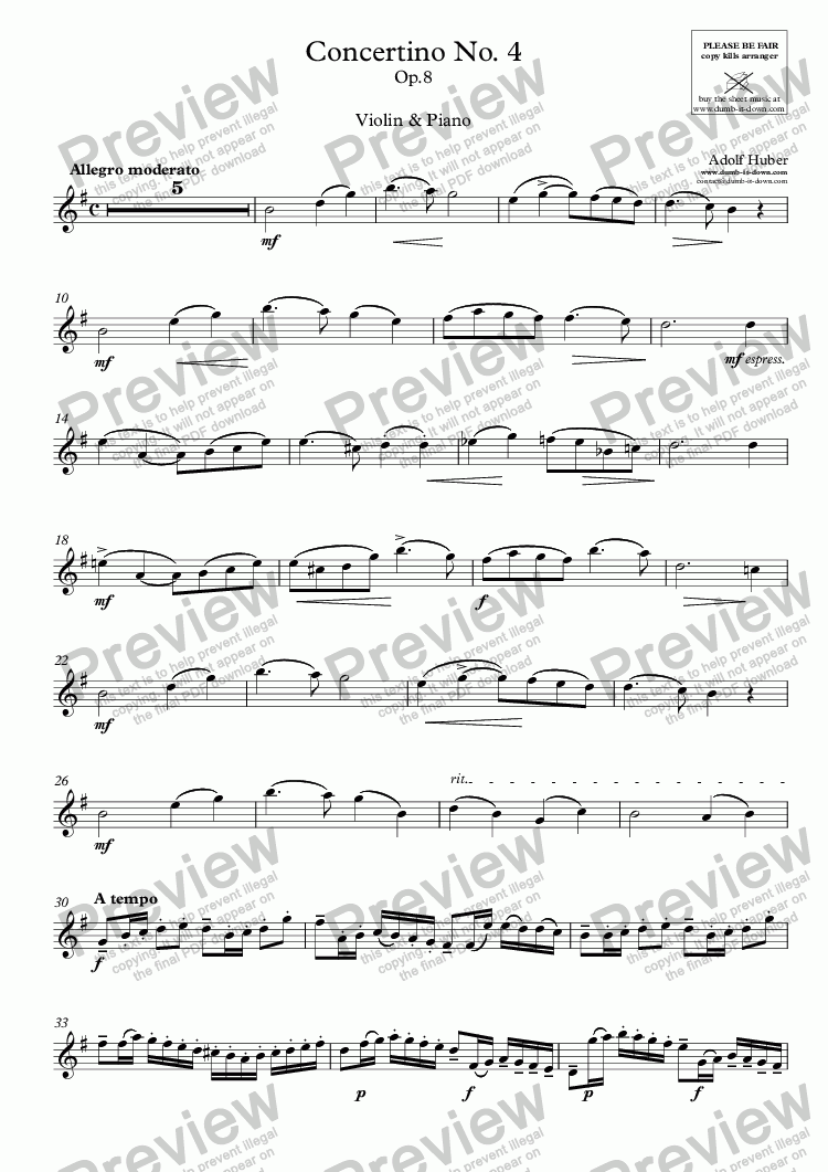 page one of the Violine part from Huber, A. - Concertino No.4, Op.8 - for Violin & Piano (orig.)